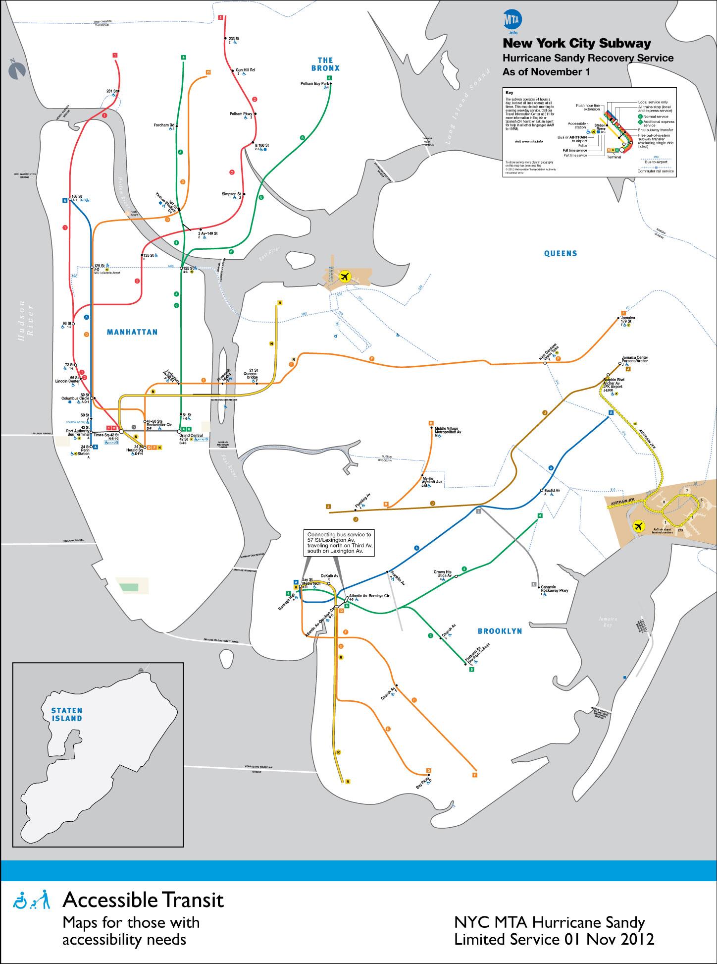 Subway Map Nyc 2012.Accessible Transit Nyc Subway Hurricane Sandy Service Urbnblog